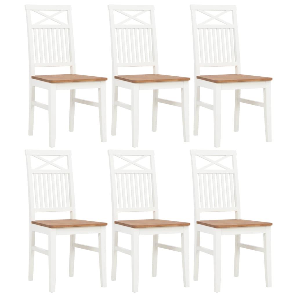 vidaXL Καρέκλες Τραπεζαρίας 6 τεμ. Λευκές από Μασίφ Ξύλο Δρυός