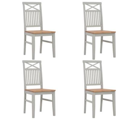 vidaXL Chaises de salle à manger 4 pcs Gris Bois de chêne solide