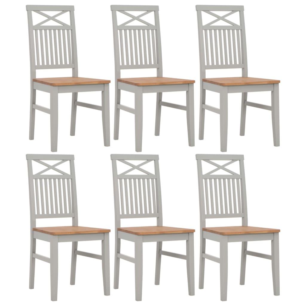 vidaXL Καρέκλες Τραπεζαρίας 6 τεμ. Γκρι από Μασίφ Ξύλο Δρυός