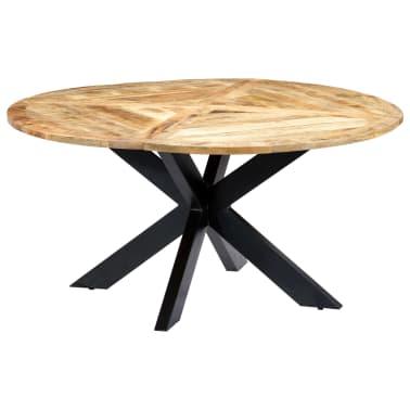 vidaXL Eettafel rond 150x76 cm massief mangohout[1/15]