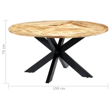 vidaXL Eettafel rond 150x76 cm massief mangohout[9/15]