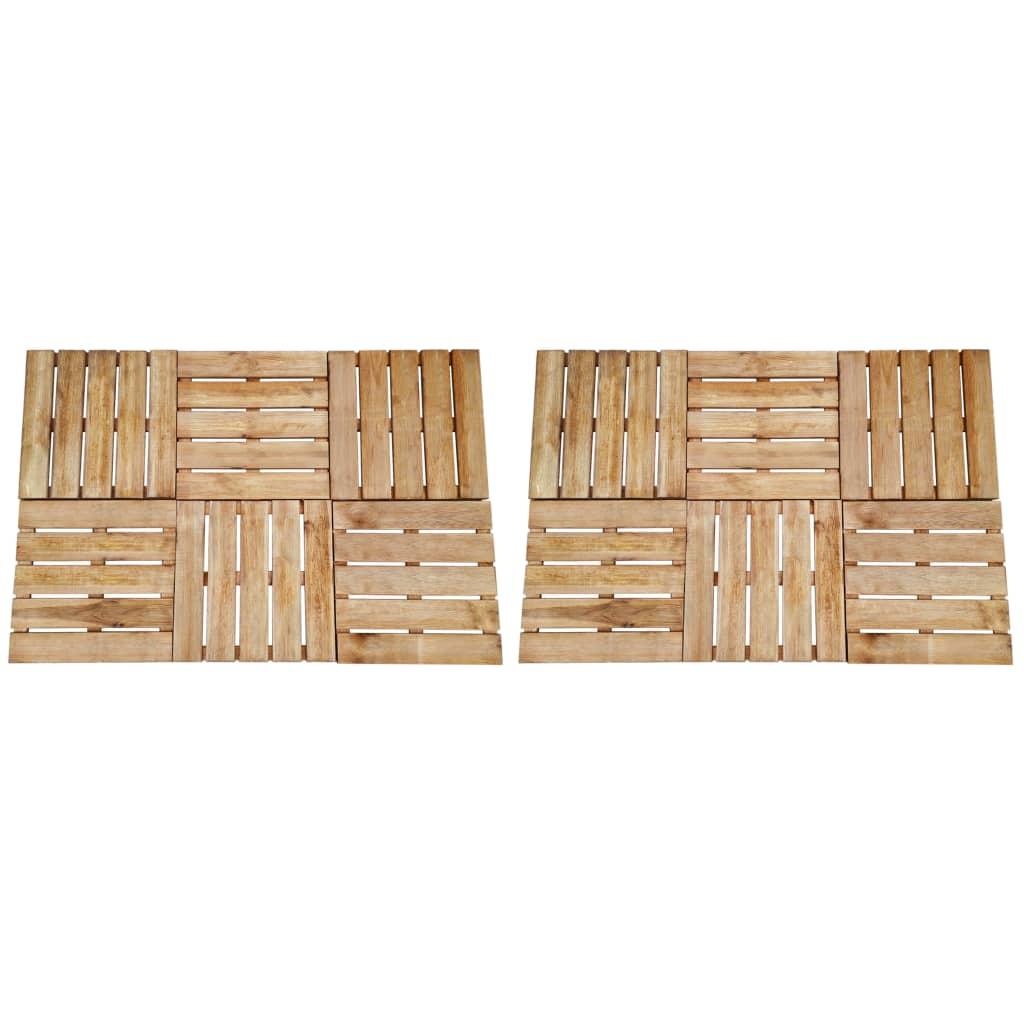 vidaXL Plăci de pardoseală, 12 buc., maro, 50 x 50 cm, lemn vidaxl.ro