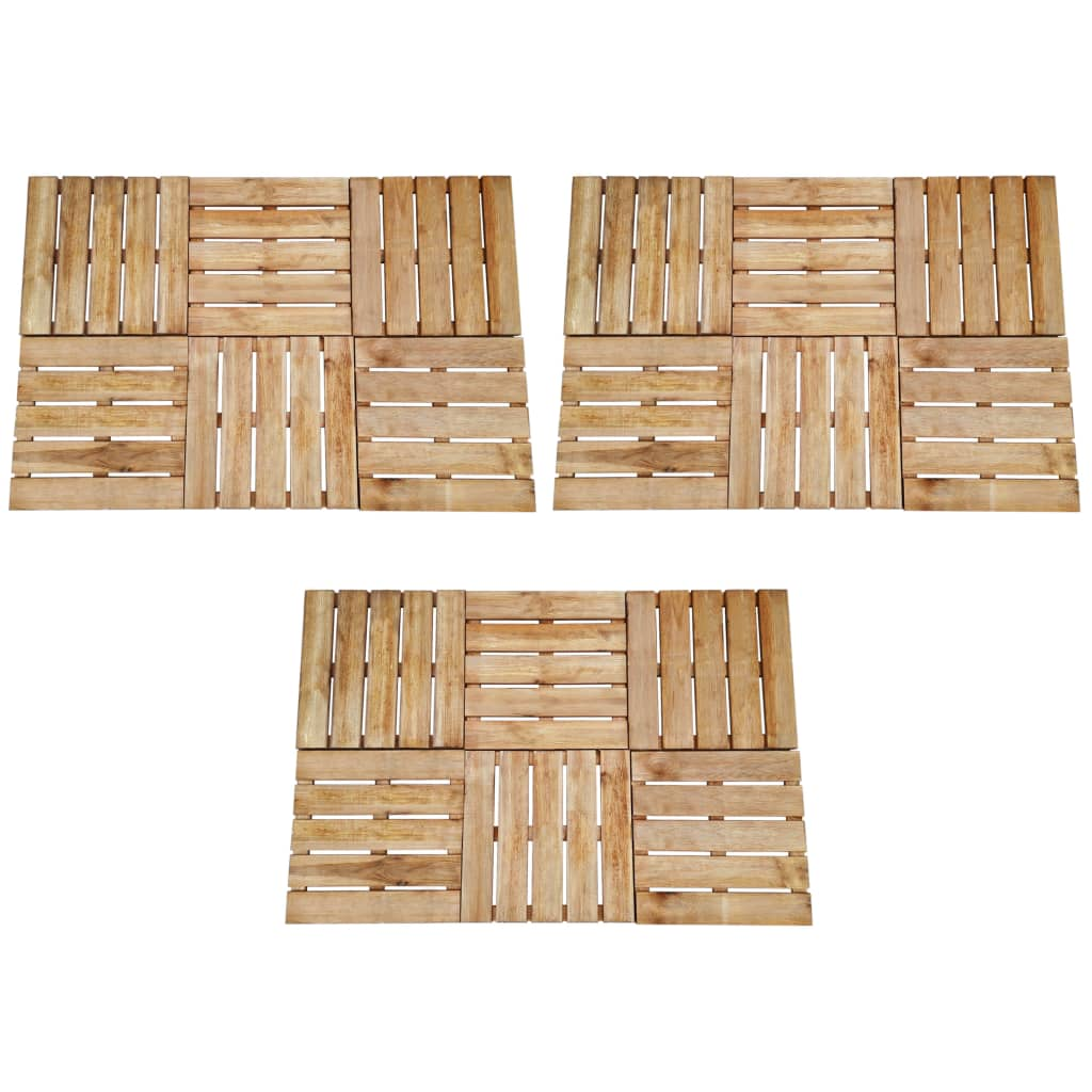 vidaXL Plăci de pardoseală, 18 buc., maro, 50 x 50 cm, lemn poza vidaxl.ro