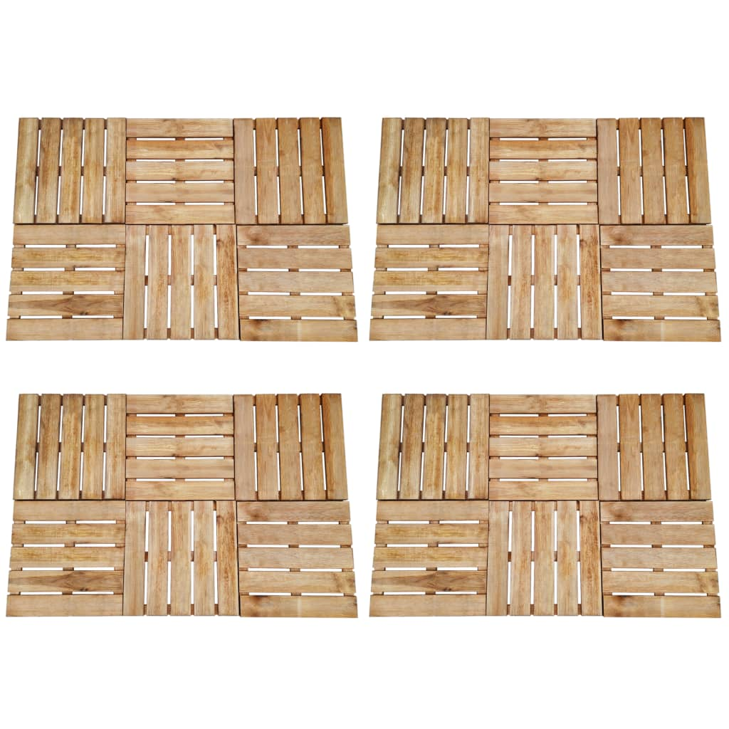 vidaXL Plăci de pardoseală, 24 buc., maro, 50 x 50 cm, lemn vidaxl.ro