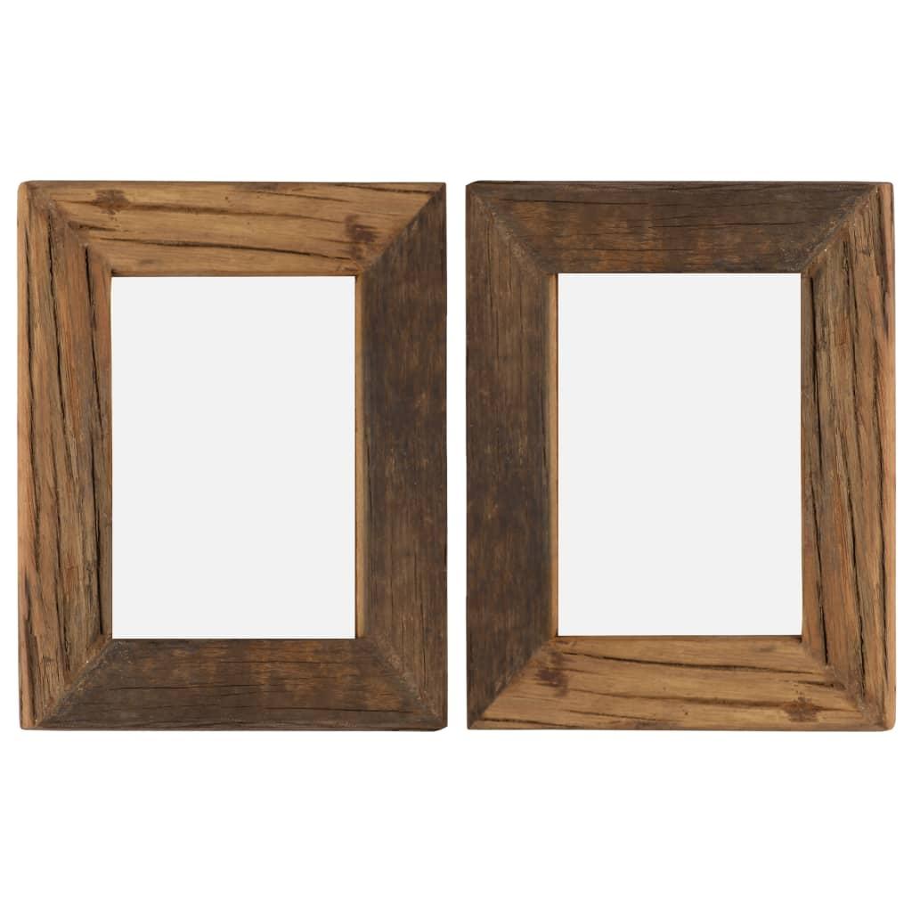 vidaXL Rame foto, 2 buc., 25 x 30 cm, lemn masiv reciclat și sticlă poza vidaxl.ro