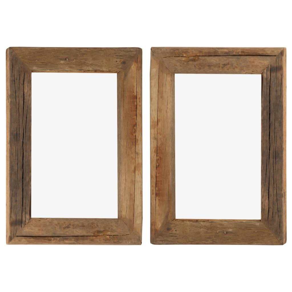 vidaXL Rame foto, 2 buc., 30 x 40 cm, lemn masiv reciclat și sticlă poza vidaxl.ro