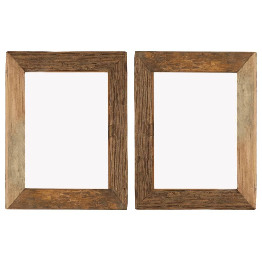 vidaXL Rame foto, 2 buc., 34 x 40 cm, lemn masiv reciclat și sticlă poza vidaxl.ro