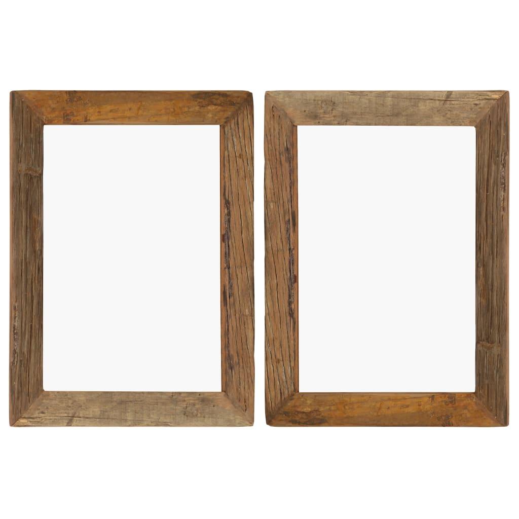 vidaXL Rame foto, 2 buc., 40 x 50 cm, lemn masiv reciclat și sticlă poza vidaxl.ro