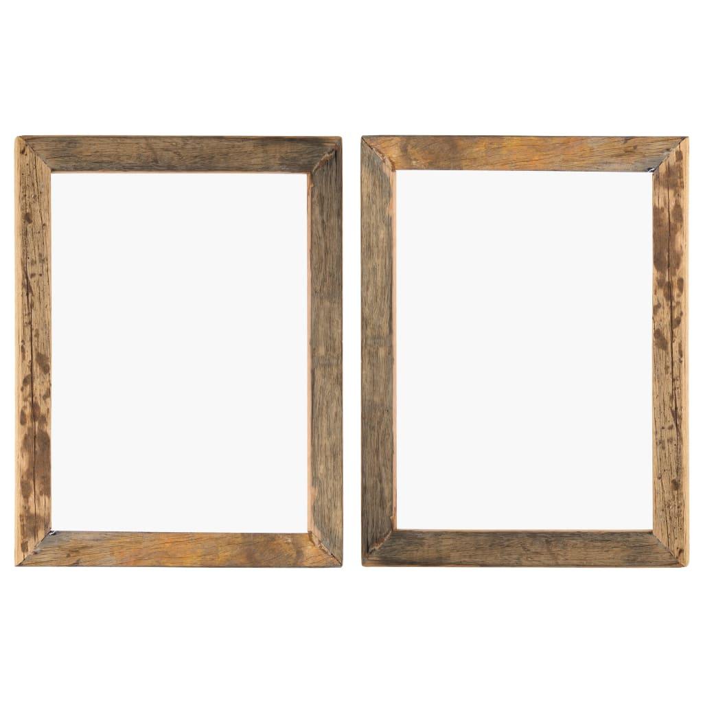 vidaXL Rame foto, 2 buc., 50 x 60 cm, lemn masiv reciclat și sticlă poza vidaxl.ro