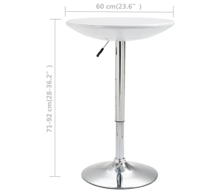 vidaXL Baro stalas, baltos spalvos, ABS plastikas, 60 cm skersmens[5/5]