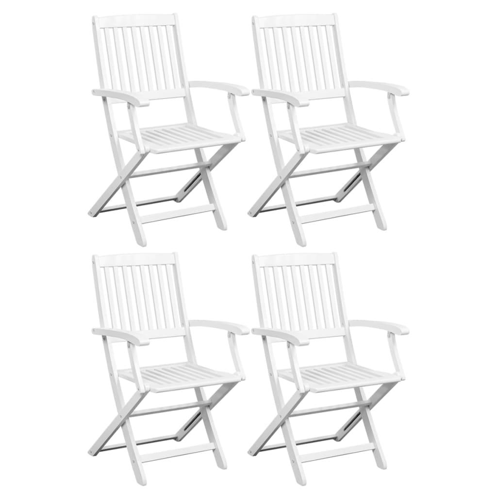 vidaXL Καρέκλες Τραπεζαρίας 4 τεμ. Λευκές από Μασίφ Ξύλο Ακακίας
