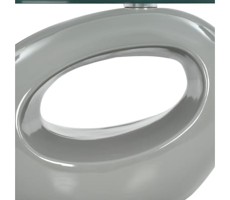 vidaXL Coffee Table with Oval Glass Top High Gloss Gray[4/5]