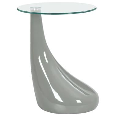 vidaXL Coffee Table with Round Glass Top High Gloss Gray[1/6]