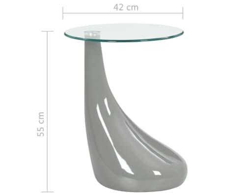 vidaXL Coffee Table with Round Glass Top High Gloss Gray[6/6]