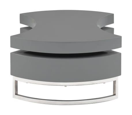 vidaXL Kavos staliukas, pilkas, reguliuojamos formos, labai blizgus[3/7]