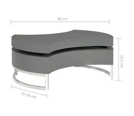 vidaXL Kavos staliukas, pilkas, reguliuojamos formos, labai blizgus[7/7]