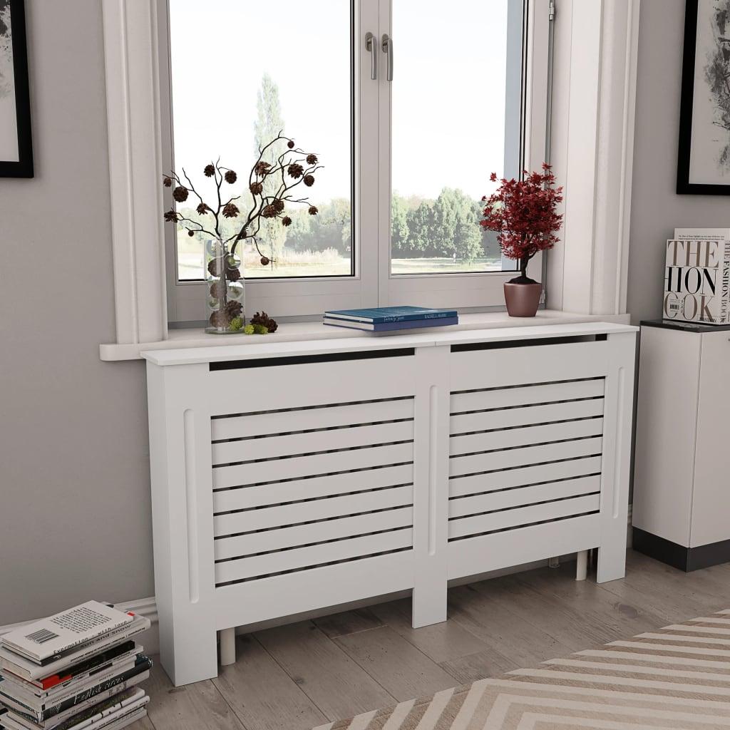 Kryt na radiátor bílý 152 x 19 x 81,5 cm MDF
