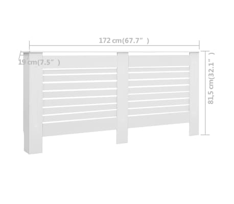 vidaXL Cache-radiateur Blanc 172x19x81,5 MDF[7/7]