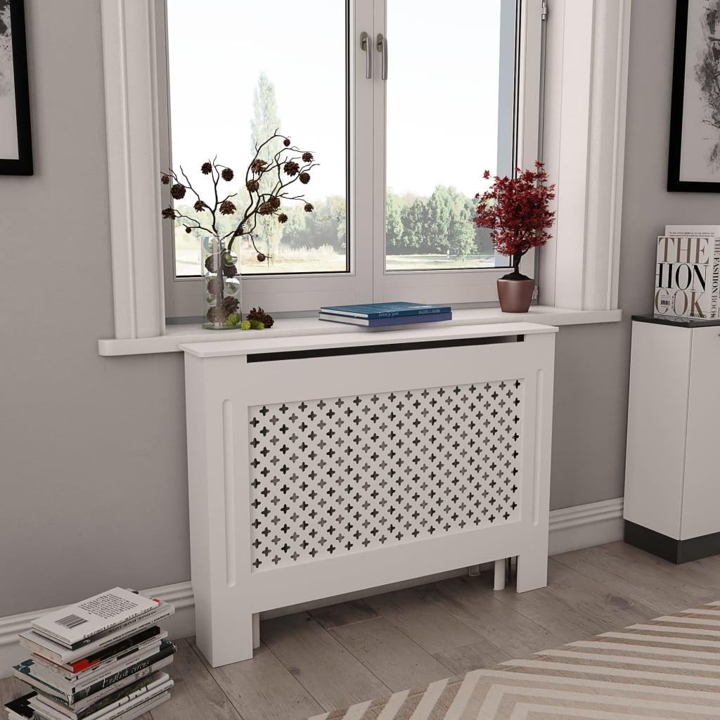 vidaXL Cobertura de radiador 112x19x81,5 cm MDF branco