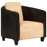 vidaXL Fotel, czarno-jasnobrązowy, skóra naturalna