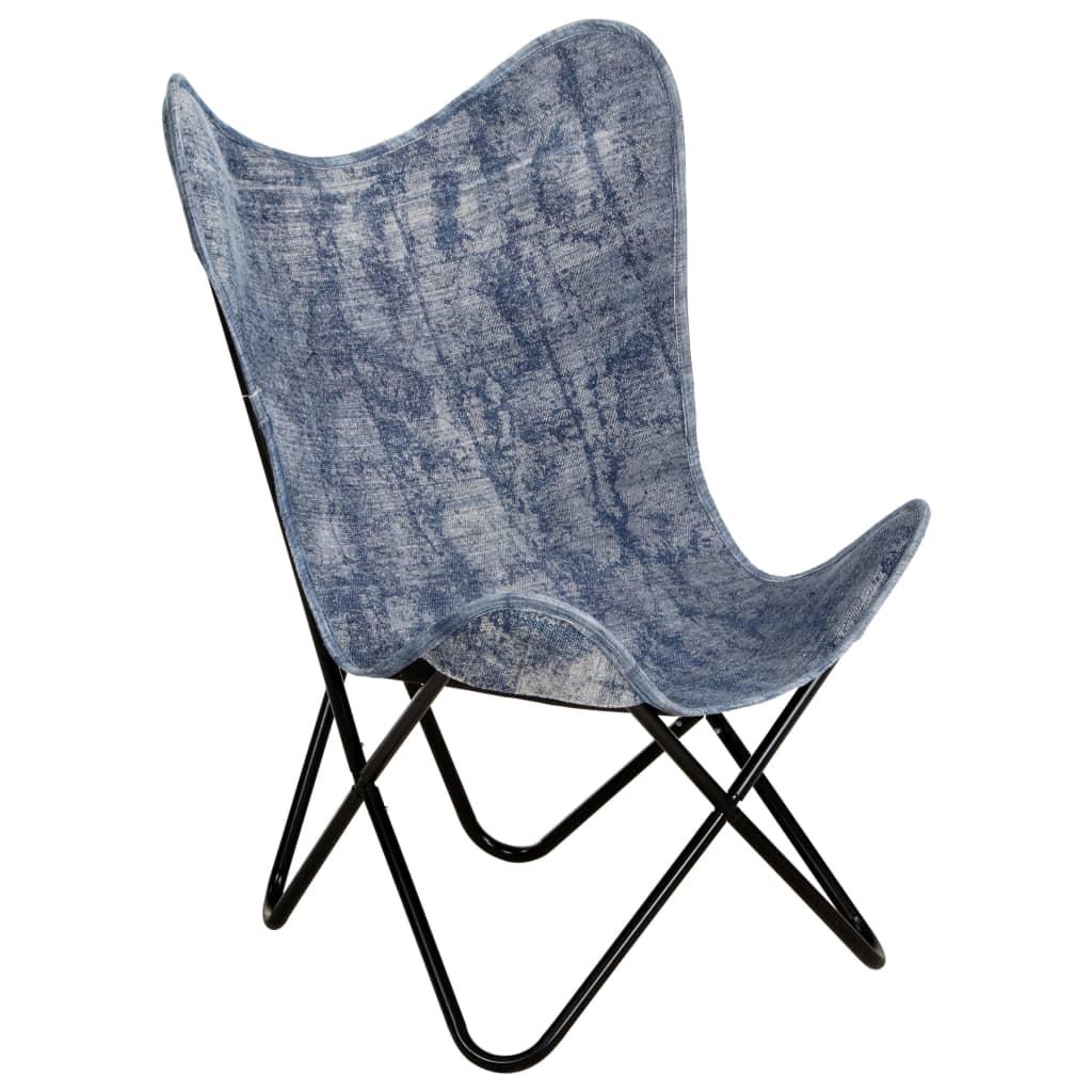 vidaXL Křeslo Butterfly indigově modré textil
