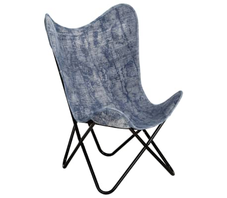 vidaXL Butterfly Chair Indigo Blue Canvas