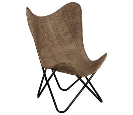 vidaXL Vlinderstoel canvas taupe