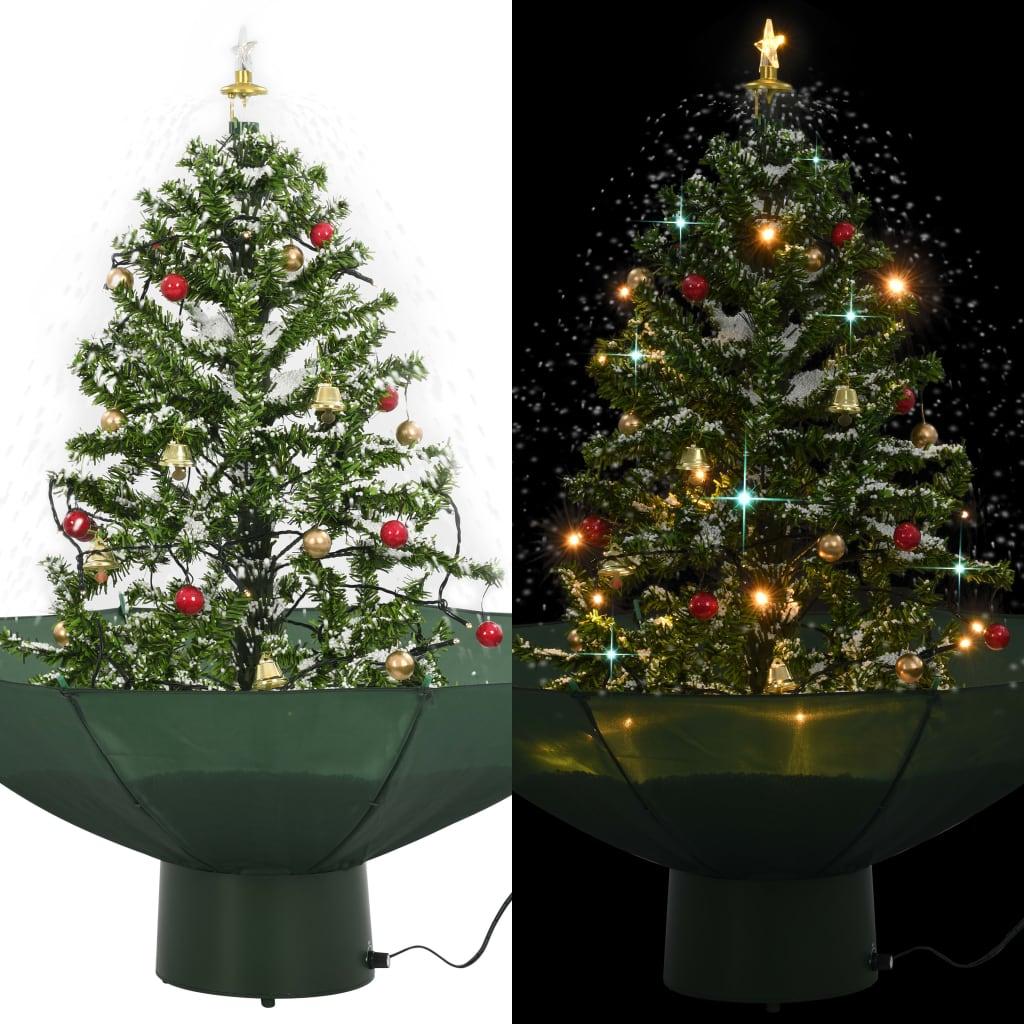 vidaXL Albero di Natale con Neve e Base a Ombrellone Verde 75 cm