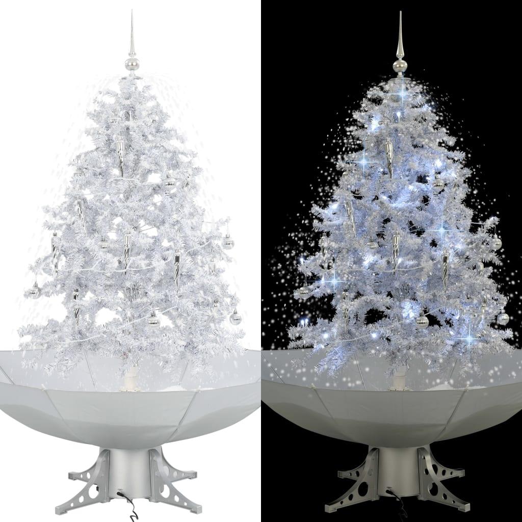 vidaXL Brad de Crăciun cu ninsoare și bază umbrelă, alb, 140 cm vidaxl.ro