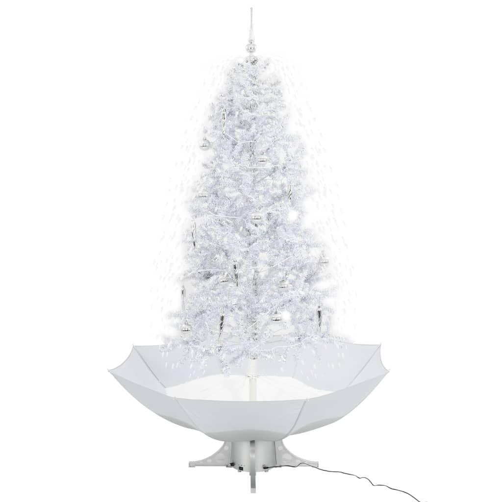999284338 Schneiender Weihnachtsbaum mit Schirmfuß Weiß 190 cm