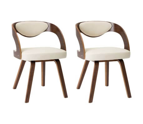 vidaXL Dining Chairs 2 pcs Cream Bent Wood and Faux Leather