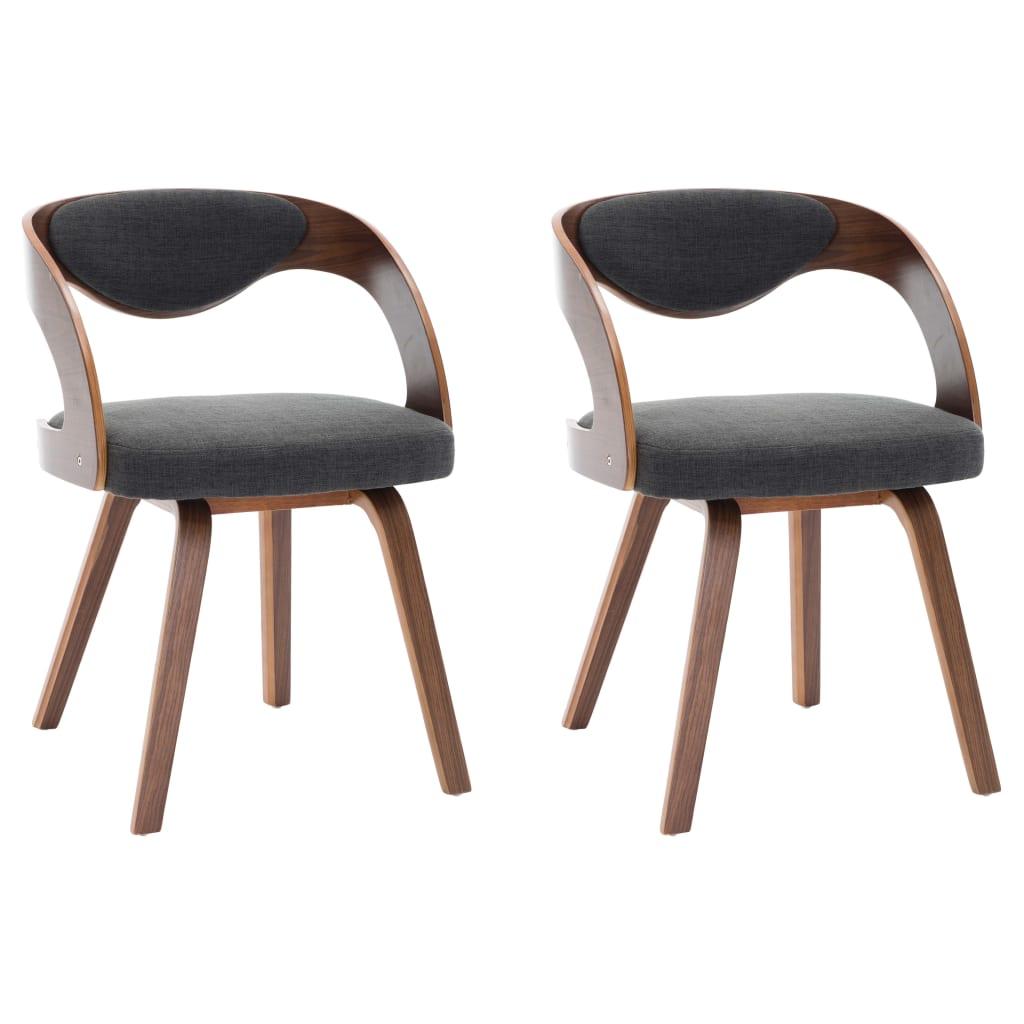 vidaXL Καρέκλες Τραπεζαρίας 2 τεμ. Σκούρο Γκρι Λυγισμένο Ξύλο & Ύφασμα