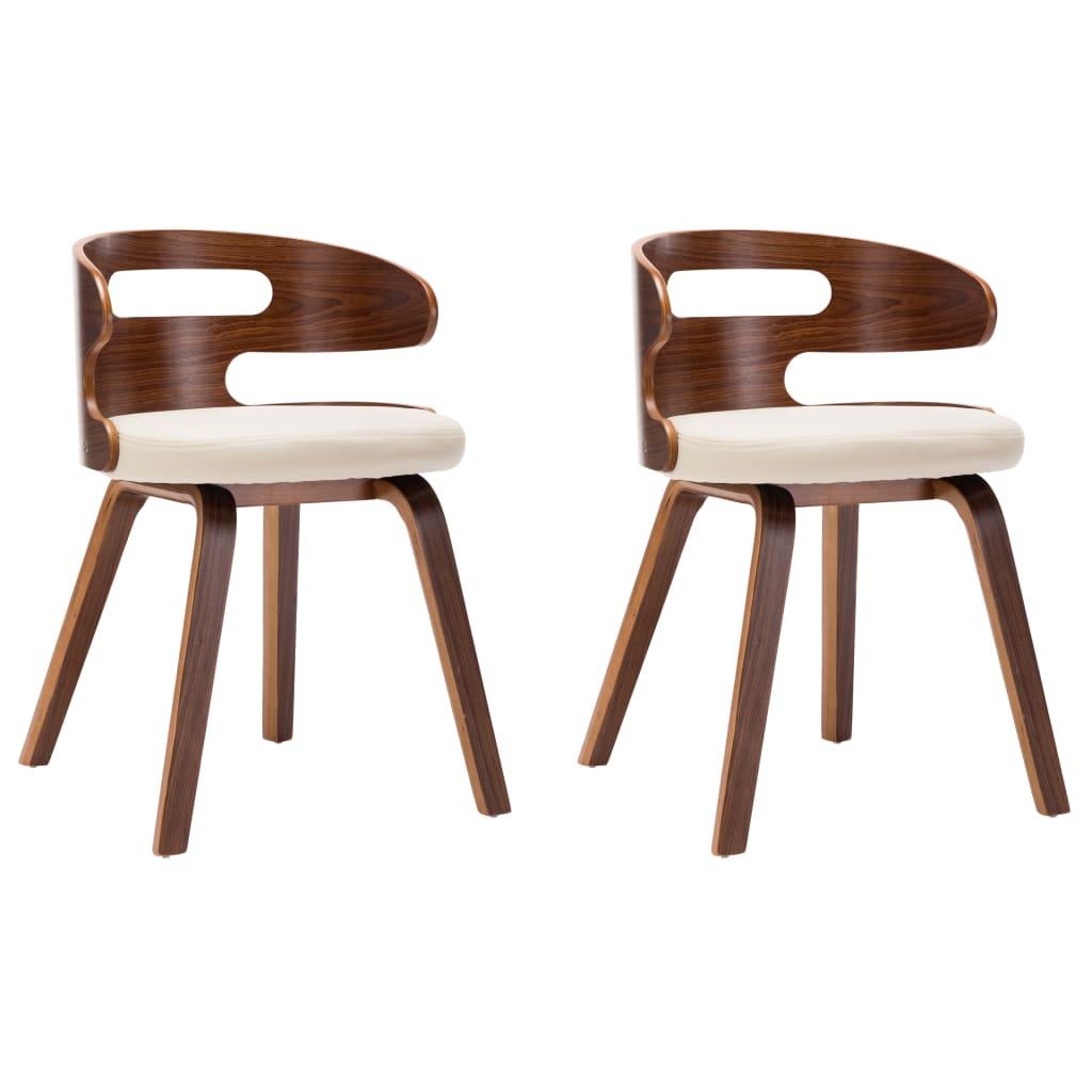 vidaXL Καρέκλες Τραπεζαρίας 2 τεμ. Κρεμ Λυγισμένο Ξύλο/Συνθετικό Δέρμα