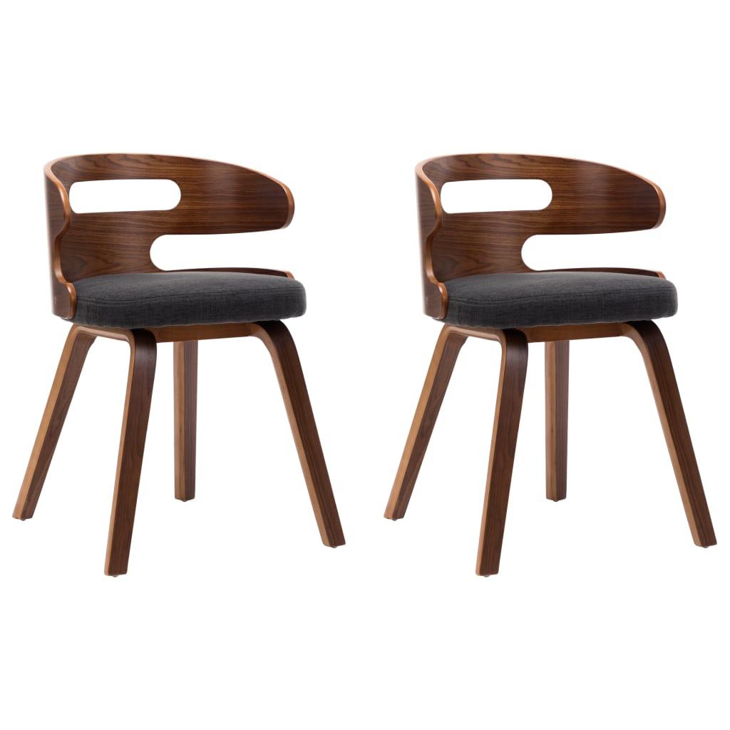 vidaXL Καρέκλες Τραπεζαρίας 2 τεμ. Σκούρο Γκρι Λυγισμένο Ξύλο / Ύφασμα