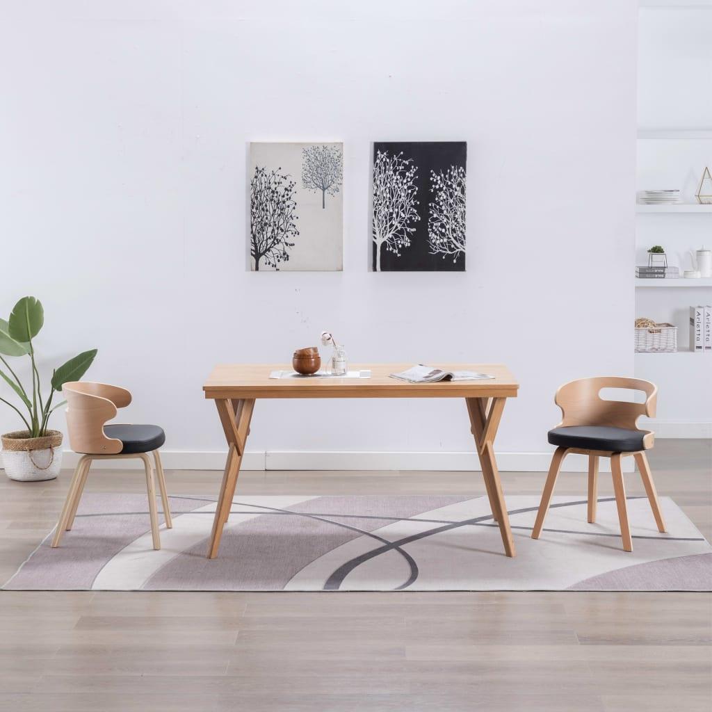vidaXL Scaune de bucătărie 2 buc, negru, lemn curbat & piele ecologică vidaxl.ro