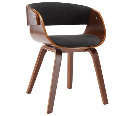 vidaXL Dining Chair Grey Bent Wood and Fabric