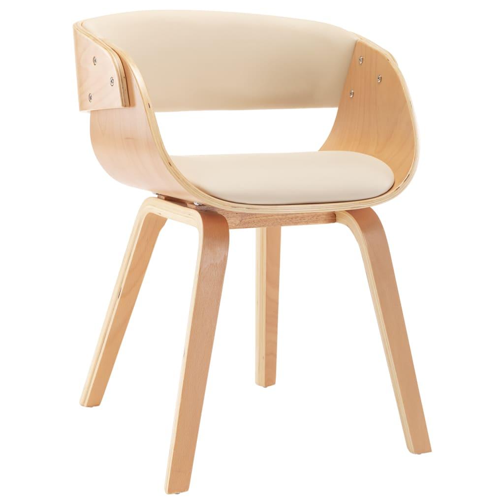 vidaXL Καρέκλα Τραπεζαρίας Κρεμ από Λυγισμένο Ξύλο και Συνθετικό Δέρμα