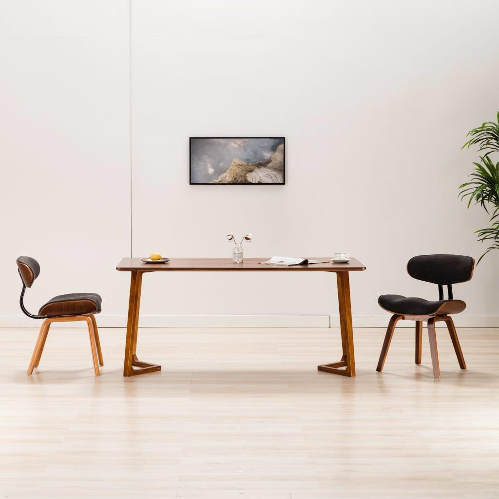 vidaXL Scaune de bucătărie, 2 buc., gri, lemn curbat și țesătură poza 2021 vidaXL