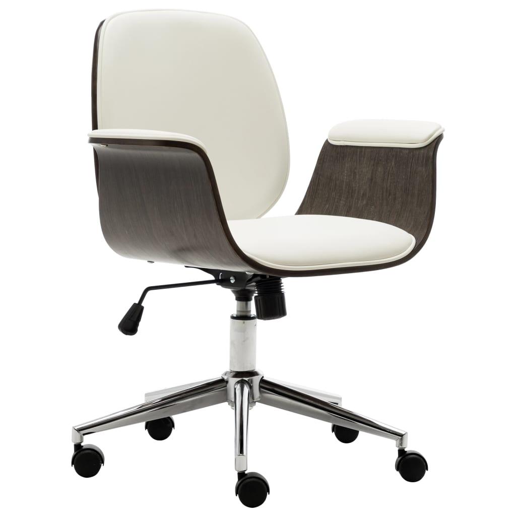 vidaXL Scaun de birou, alb, lemn curbat și piele ecologică poza 2021 vidaXL