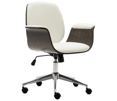 vidaXL Chaise de bureau Blanc Bois courbé et similicuir
