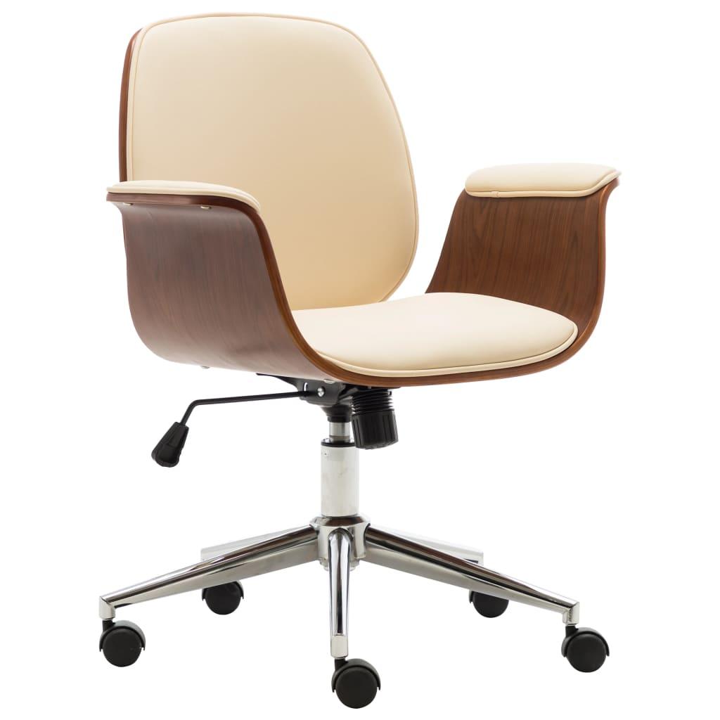 vidaXL Scaun de birou, crem, lemn curbat și piele ecologică vidaxl.ro