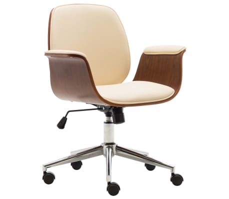 vidaXL Chaise de bureau Crème Bois courbé et similicuir
