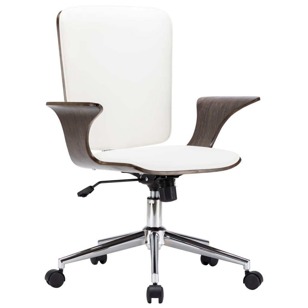 vidaXL Scaun de birou rotativ, alb, piele ecologică și lemn curbat poza 2021 vidaXL