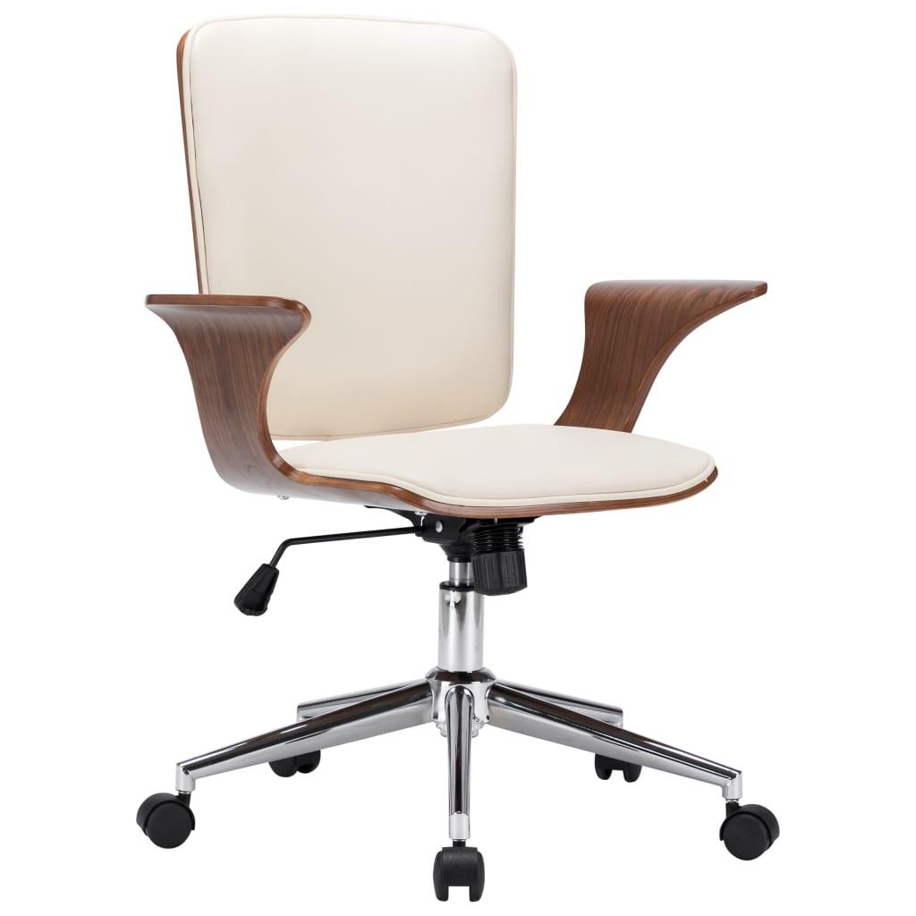 vidaXL Scaun de birou rotativ, crem, piele ecologică și lemn curbat vidaxl.ro