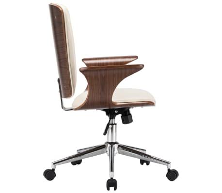 vidaXL Chaise pivotante de bureau Crème Similicuir et bois courbé[3/7]