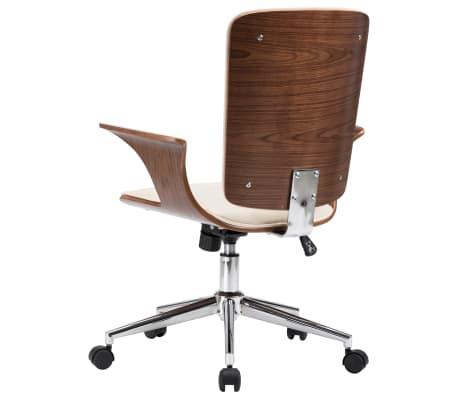 vidaXL Chaise pivotante de bureau Crème Similicuir et bois courbé[5/7]