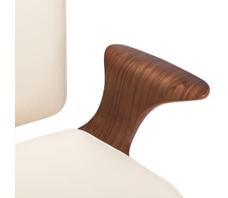 vidaXL Chaise pivotante de bureau Crème Similicuir et bois courbé[6/7]