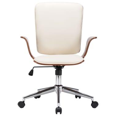 vidaXL Chaise pivotante de bureau Crème Similicuir et bois courbé[2/7]