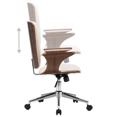 vidaXL Chaise pivotante de bureau Crème Similicuir et bois courbé[4/7]