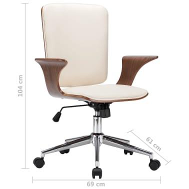vidaXL Chaise pivotante de bureau Crème Similicuir et bois courbé[7/7]